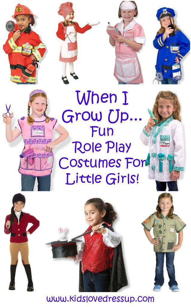 "Fun role play costumes for girls, all about ""When I Grow Up""! Kidslovedressup.com"