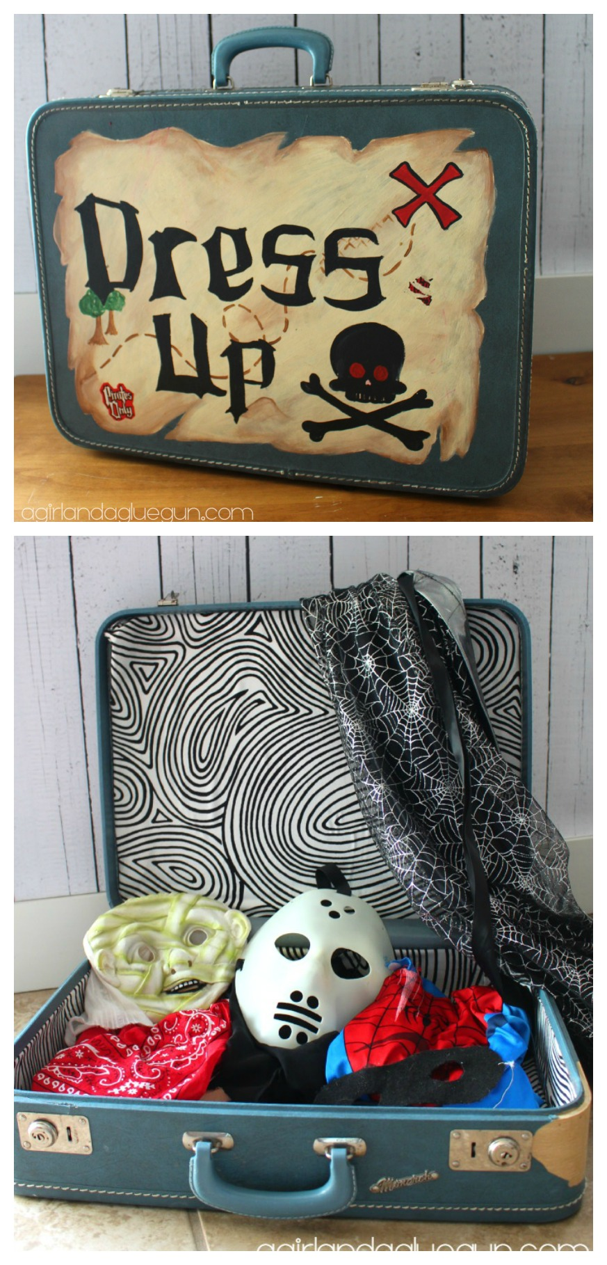 Dress Up Trunk From Old Suitcase - DIY Dress Up Solutions on www.kidslovedressup.com