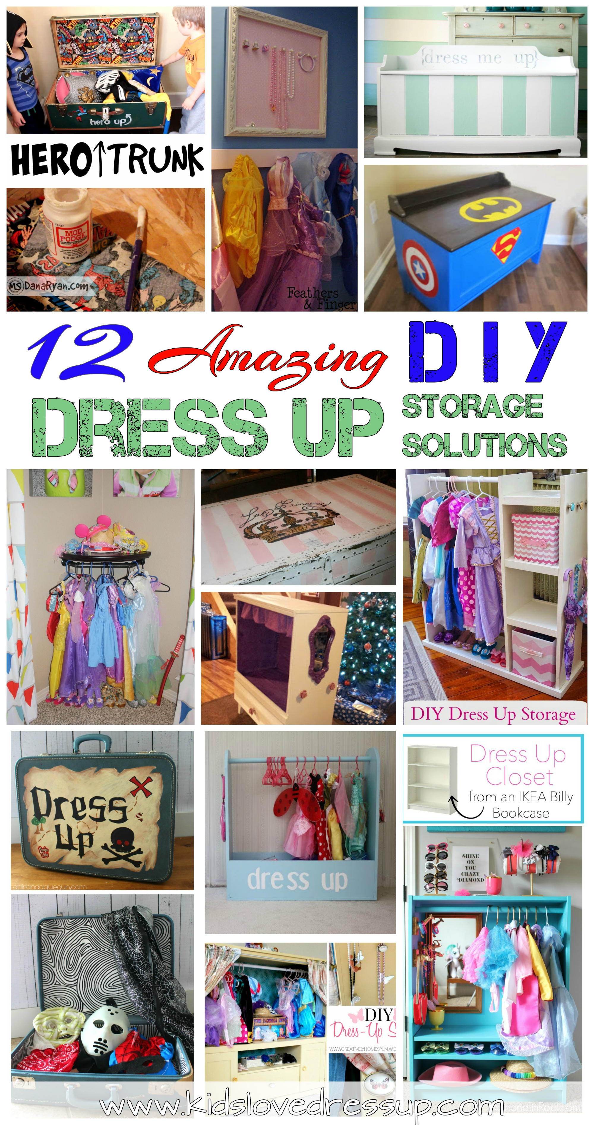 12 Amazing Dress Up Storage Solutions! Blog post at www.kidslovedressup.com