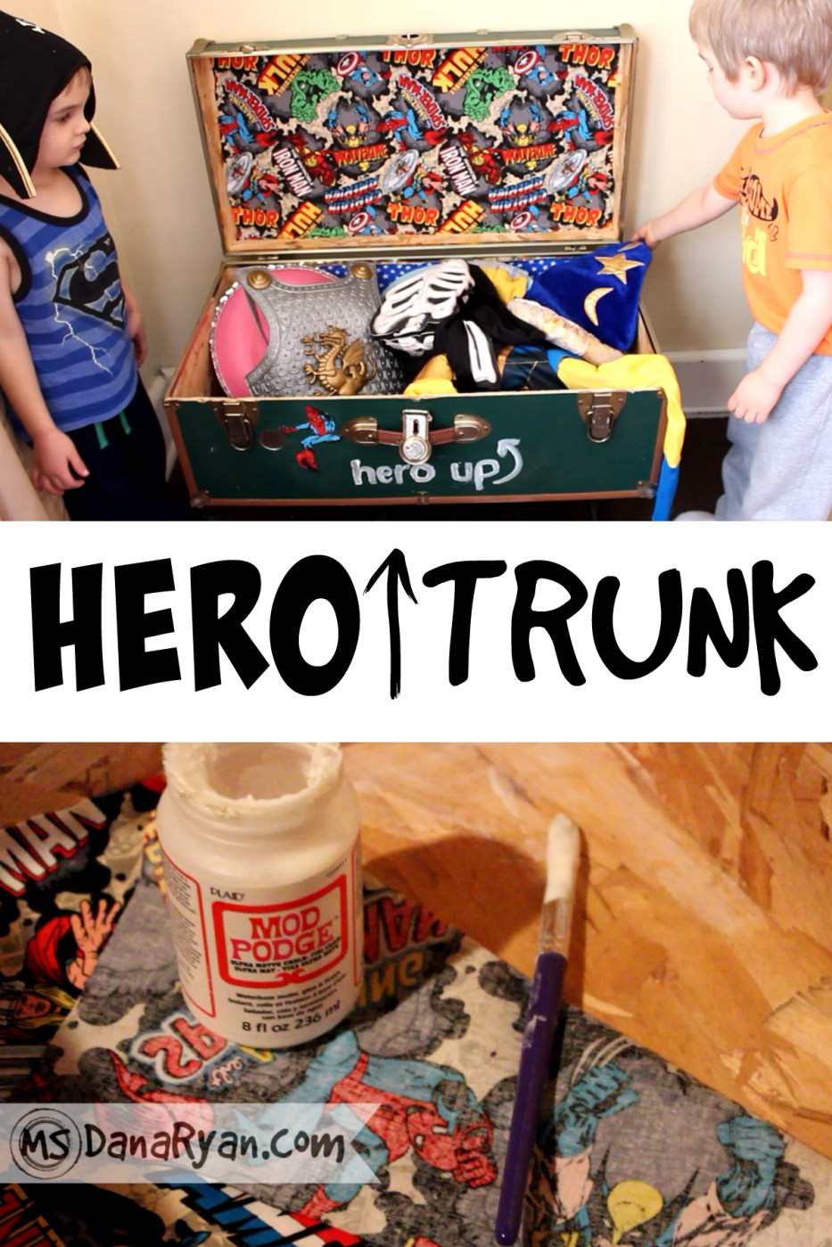 Hero Trunk DIY - DIY Dress Up Storage Solutions at www.kidslovedressup.com