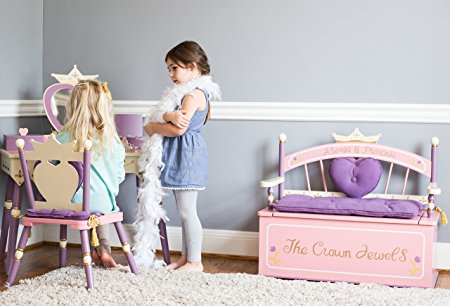 Princess Toy Box Bench for Dress Up Clothes