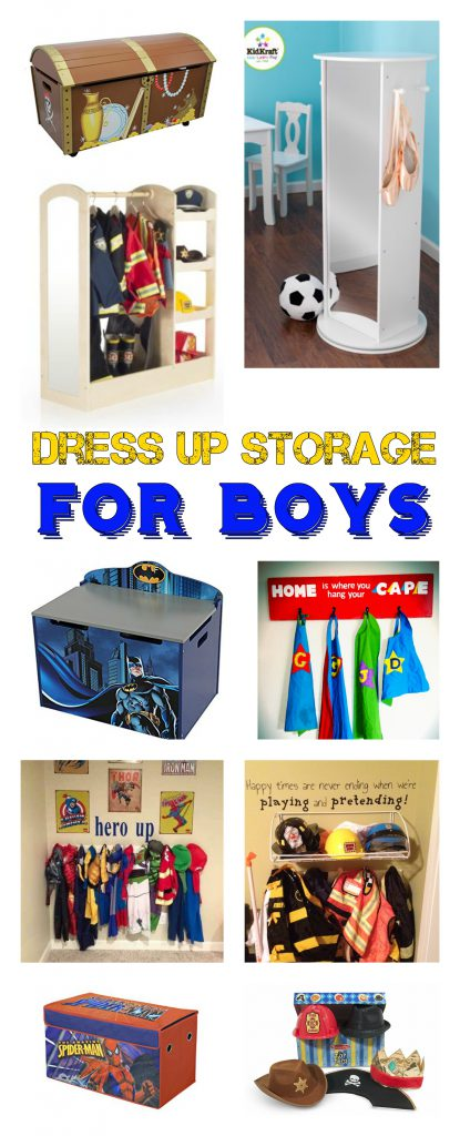 Dress Up Storage For Boys! Need something great for your boy's dress up storage? Dress up trunks for boys, dress up storage units, and more! www.kidslovedressup.com
