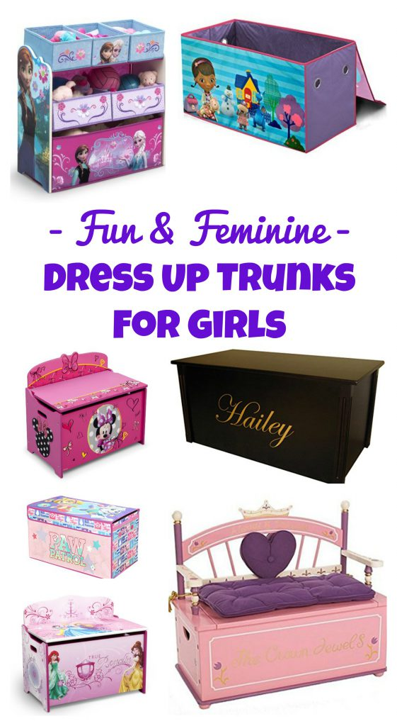Dress Up gear out of control? Want an easy solution for the mess? Get a Girls Dress Up Clothes Trunks - check out this post and see TONS of super cute, feminine, and fun dress up trunks for girls! www.kidslovedressup.com dress up storage, storage trunk, toy storage for girls, toy boxes for girls, girls storage, kids storage, storage box for kids, kids storage, kids dress up