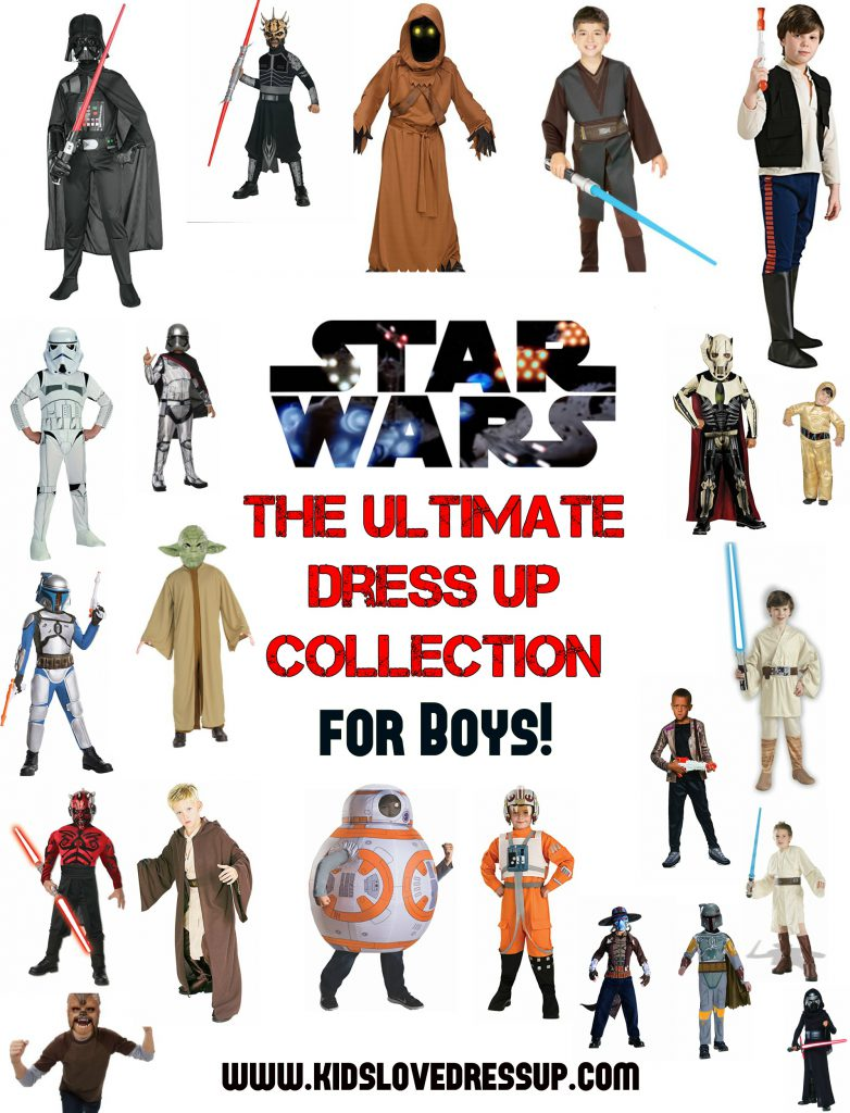 Star Wars Dress Up For Boys - The Ultimate Costume Collection for the young Star Wars lover in your life! Check out the huge variety of kid sized Star Wars Costumes at www.kidslovedressup.com!