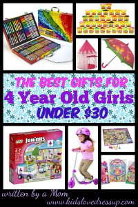 What are the best gifts for 4 year old girls? Here are some fantastic gift ideas under $30 - as selected by a mom of a beautiful 4 year old girl. www.kidslovedressup.com