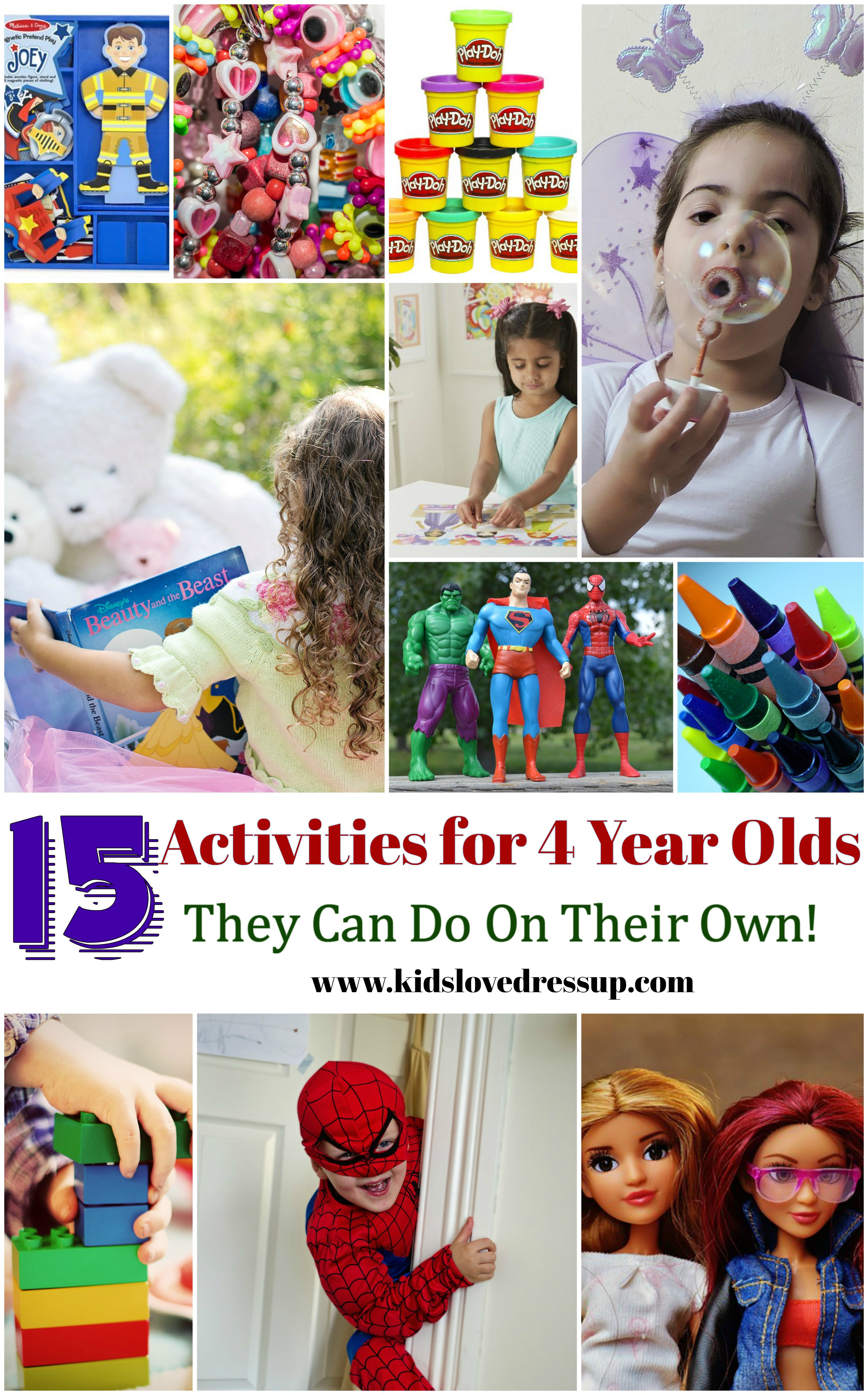 15 Activities for 4 Year Olds They Can Do On Their Own! Check out this post at www.kidslovedressup.com for great ideas to keep your kids busy!