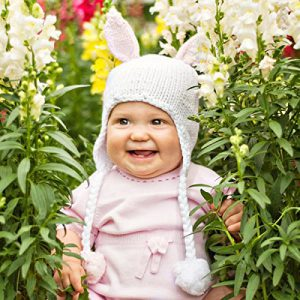 Bunny Hat for Baby - it's perfect for an easter photo shoot! Comes in blue or pink ears!