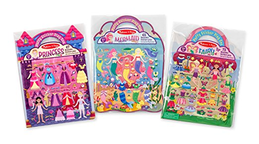 Gifts for 4 year old girls can include these reusable sticker pads by Melissa and Doug