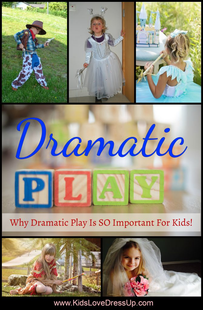 Why dramatic play is important - a look at the great things kids can learn while playing dress up, make believe, and more! Check out this article at www.kidslovedressup.com today!