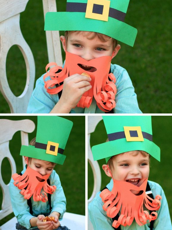 St. Patrick's Day Costume ideas for kids that you can DIY - how about this paper hat and beard? Cheap, easy, and looks GREAT!