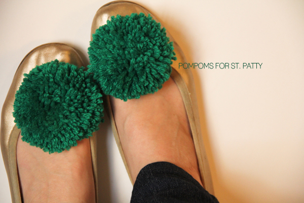 DIY a fluffy green pompom and clip it on your child's shoes to add some pizzazz to her St. Patrick's Day Costume