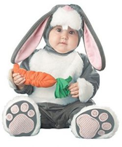 Grey, white, and pink Easter bunny costume for baby