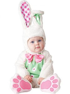 Pink, green, and white easter bunny costume for baby!