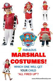 Check out these 7 fabulous Marshall PAW Patrol Costume Options: Which one will YOUR child like best? PAW Patrol costumes for kids are HUGE this year! www.kidslovedressup.com