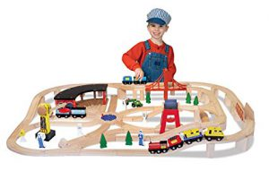 Wooden Train Set: It's one of the best toys for 3 year old boys! Suggested by www.kidslovedressup.com.