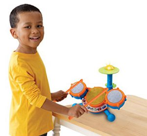 V-Tech drum set: It's one of the best toys for 3 year old boys! Suggested by www.kidslovedressup.com.